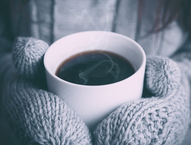 warm coffee and mittens