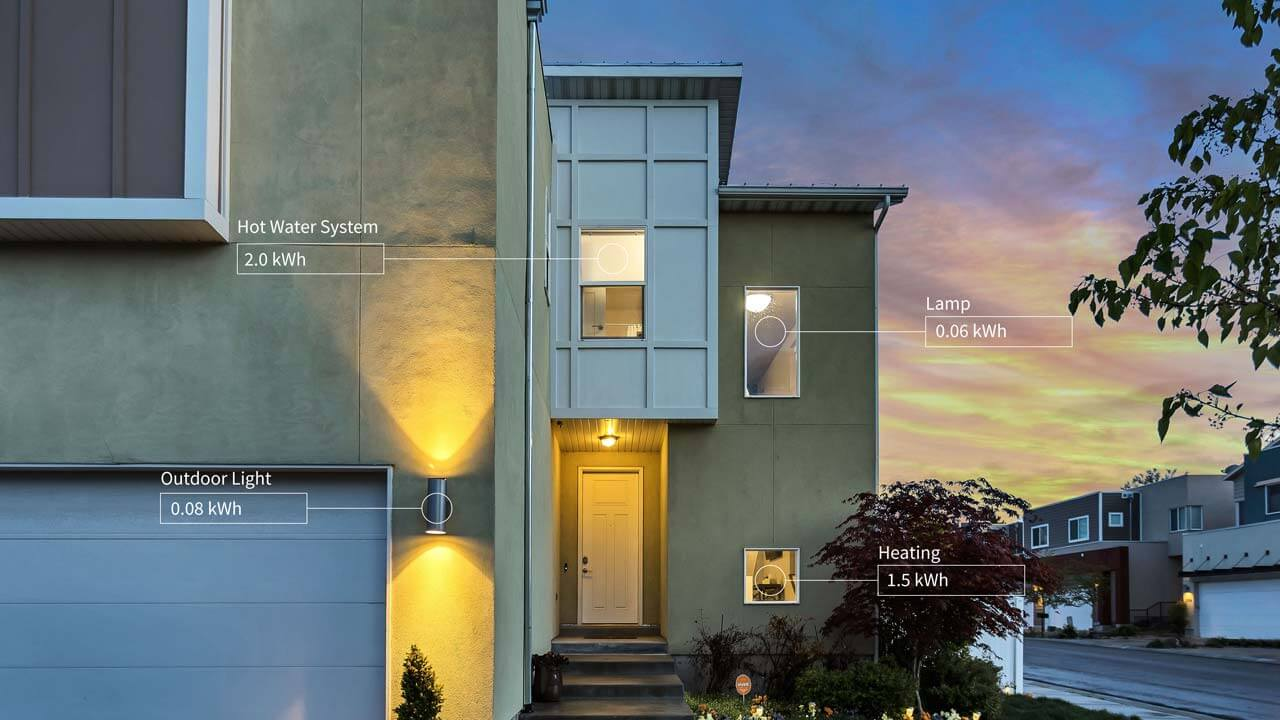 The outside of a modern home at dusk. The lights are on, shining through the windows, with text edited over the top showing how carbonTRACK can measure the appliances within a home.