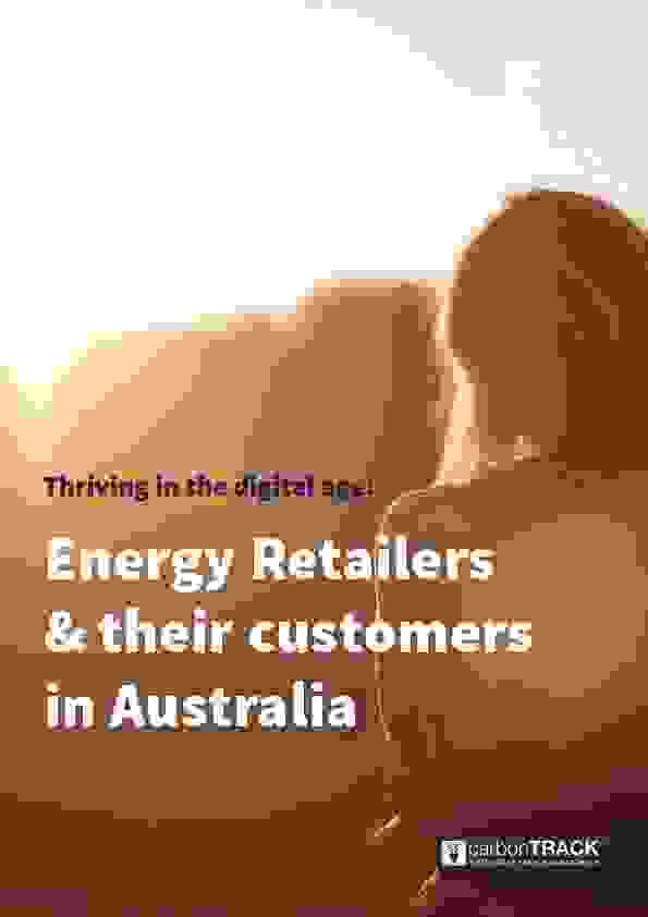 Cover of the electricity retailer's white paper, where a woman stands outdoors, bathed in the orange light of the setting sun.