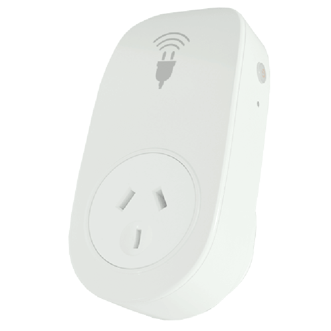 carbonTRACK's smart plug photographed in a studio, shown on an angle.