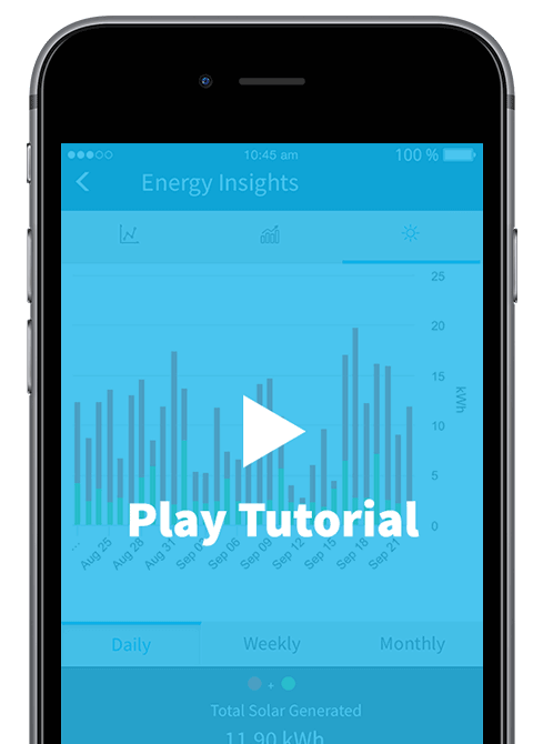 A smart phone showing the energy insights screen of the carbonTRACK app, with a prompt for you to watch the tutorial.