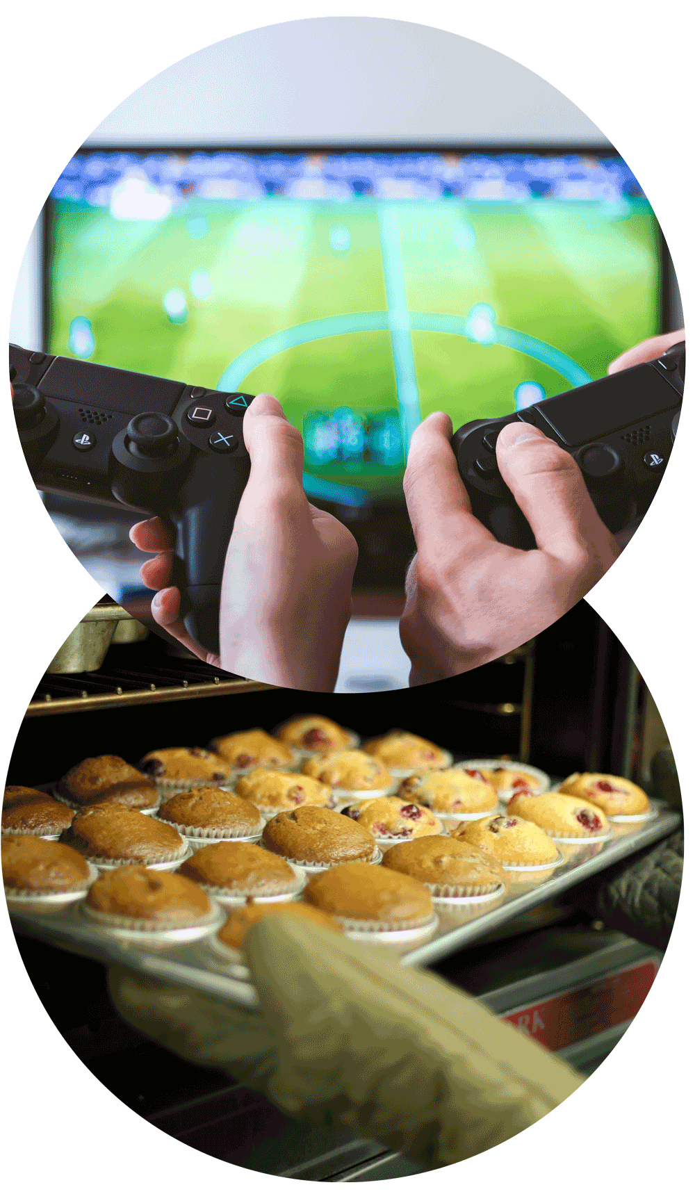 Two sets of hands hold PlayStation controllers in front of a brightly light television displaying a game of soccer. Oven mitted hands reach into an oven, taking out a tray of freshly cooked muffins.