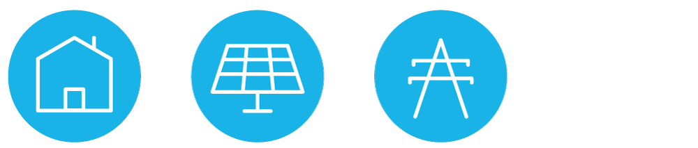 Little icons depict a home, a solar panel and a power line within blue circles.